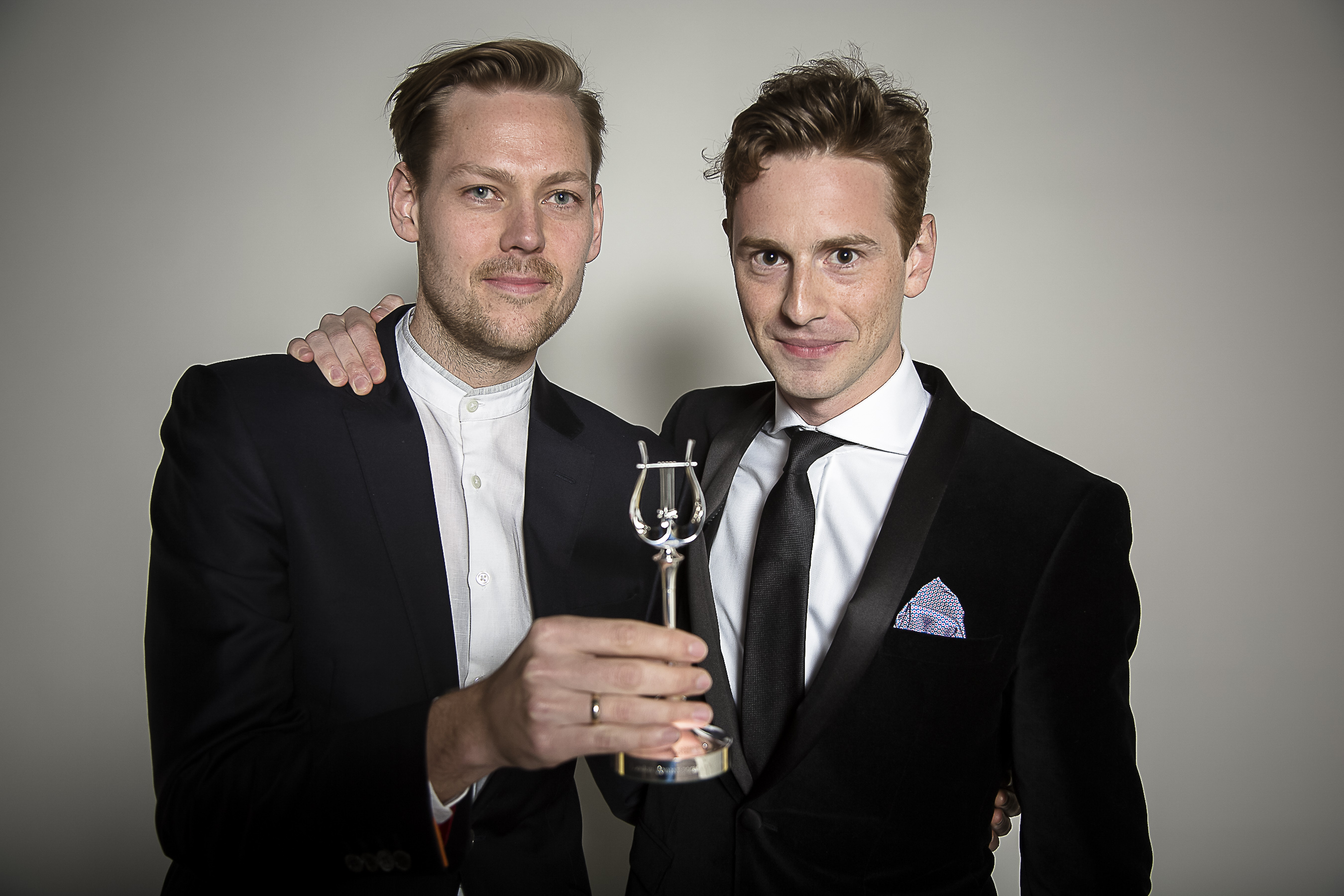 Conductor Hugh Brunt and Robert Ames Artistic Directors of London Contemporary Orchestra Winner of the RPS Music Award for Ensemble. Photographed at the RPS Music Awards, London, Tuesday 5 May Photo credit required: Simon Jay Price www.rpsmusicawards.com